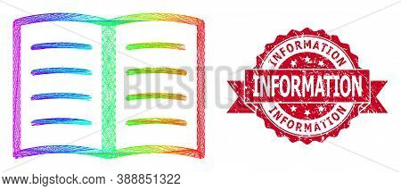 Spectrum Colorful Wire Frame Open Book, And Information Dirty Ribbon Stamp Seal. Red Stamp Seal Incl