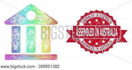Rainbow Colored Wire Frame Museum, And Assembled In Australia Scratched Ribbon Stamp Seal. Red Stamp