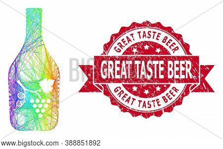 Bright Colorful Network Wine Bottle, And Great Taste Beer Unclean Ribbon Stamp Seal. Red Stamp Seal