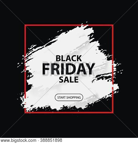 3d Black Friday Sale. Vector Layout Banner On Black Background. Dirty Grunge Brushes Stroke Under Re