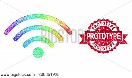 Spectrum Vibrant Wire Frame Wi-fi Source, And Prototype Grunge Ribbon Seal. Red Stamp Seal Contains