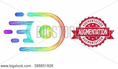 Rainbow Colored Network Speed Core, And Augmentation Unclean Ribbon Stamp Seal. Red Stamp Has Augmen