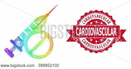Spectrum Colored Wire Frame No Vaccine, And Cardiovascular Corroded Ribbon Stamp Seal. Red Stamp Sea