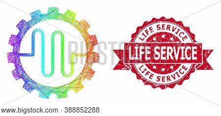 Spectrum Colored Net Pipe Service Cog, And Life Service Textured Ribbon Seal. Red Stamp Seal Contain