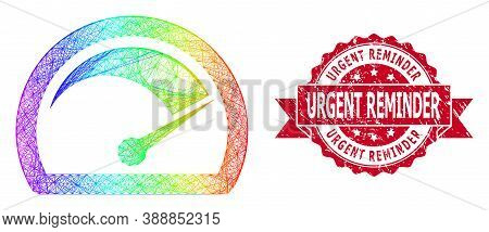 Rainbow Colorful Net Speed Gauge, And Urgent Reminder Dirty Ribbon Stamp Seal. Red Stamp Seal Contai