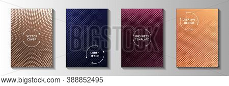 Modern Dot Faded Screen Tone Cover Page Templates Vector Collection. Urban Catalog Perforated Screen