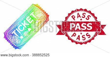 Spectrum Colored Wire Frame Ticket, And Pass Dirty Ribbon Seal. Red Seal Has Pass Caption Inside Rib