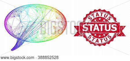 Bright Colored Net Message Cloud, And Status Corroded Ribbon Seal Imitation. Red Stamp Seal Has Stat