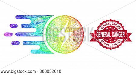 Rainbow Colorful Network Electric Charge, And General Danger Dirty Ribbon Stamp Seal. Red Stamp Seal