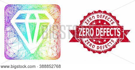 Rainbow Colored Net Diamond, And Zero Defects Unclean Ribbon Stamp Seal. Red Stamp Seal Has Zero Def