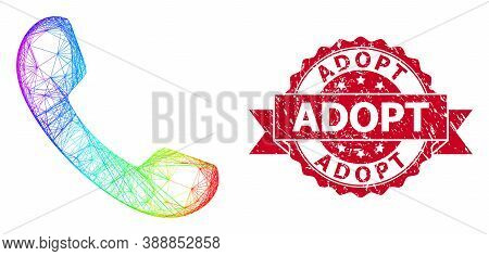 Bright Colored Network Phone, And Adopt Corroded Ribbon Stamp. Red Stamp Seal Contains Adopt Text In