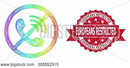 Rainbow Colorful Wire Frame No Phone Calls, And Europeans Restricted Corroded Ribbon Stamp Seal. Red