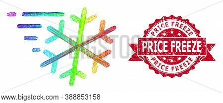 Spectrum Vibrant Network Frost Wind, And Price Freeze Corroded Ribbon Stamp. Red Seal Includes Price