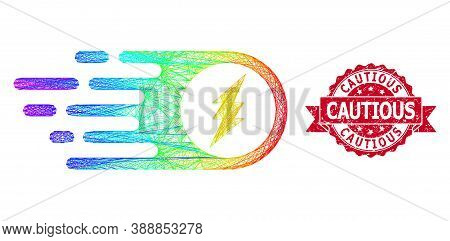 Spectrum Vibrant Wire Frame Electric Spark, And Cautious Scratched Ribbon Stamp Seal. Red Stamp Seal