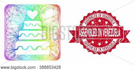 Rainbow Colored Net Marriage Cake, And Assembled In Venezuela Scratched Ribbon Seal. Red Seal Includ