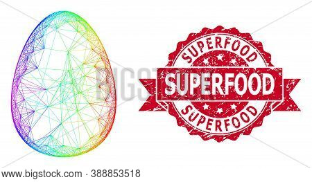 Rainbow Colorful Network Egg, And Superfood Unclean Ribbon Seal Imitation. Red Seal Has Superfood Ta
