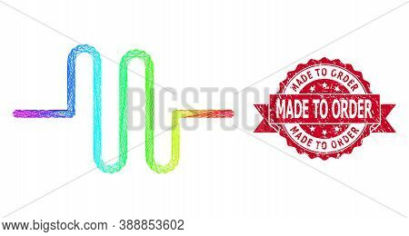 Rainbow Colored Wire Frame Pipeline, And Made To Order Corroded Ribbon Stamp Seal. Red Stamp Contain