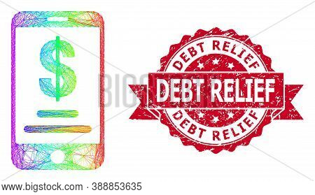 Bright Colorful Wire Frame Mobile Dollar Account, And Debt Relief Unclean Ribbon Seal Print. Red Sta