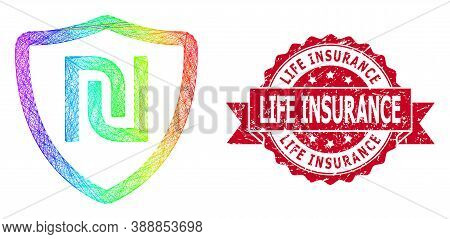 Rainbow Colorful Wire Frame Shekel Shield, And Life Insurance Scratched Ribbon Seal Imitation. Red S