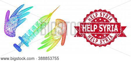 Rainbow Colored Wire Frame Vaccine Care Hands, And Help Syria Corroded Ribbon Stamp Seal. Red Stamp
