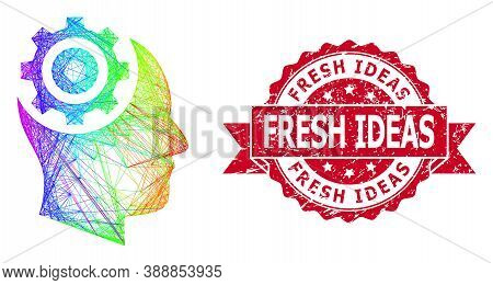 Bright Colorful Wire Frame Human Intellect Gear, And Fresh Ideas Rubber Ribbon Stamp. Red Stamp Seal