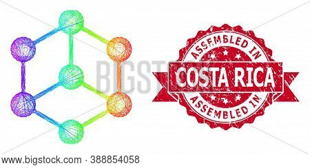 Bright Vibrant Network Isometric Cube, And Assembled In Costa Rica Textured Ribbon Seal Print. Red S