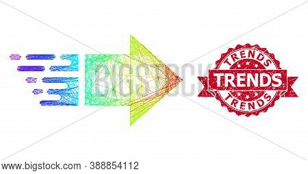 Spectrum Colored Wire Frame Move Right, And Trends Rubber Ribbon Stamp. Red Stamp Seal Contains Tren