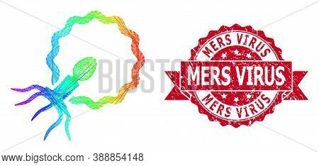 Rainbow Colored Network Virus Penetrating Cell, And Mers Virus Textured Ribbon Stamp Seal. Red Stamp