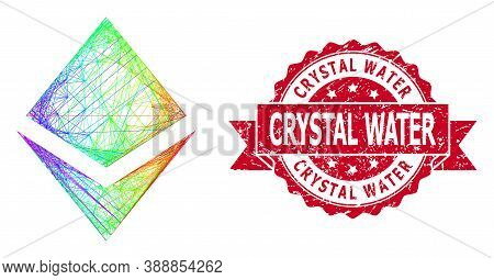Spectrum Colorful Wire Frame Crystal, And Crystal Water Corroded Ribbon Stamp. Red Stamp Includes Cr