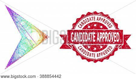 Rainbow Colored Network Right Direction, And Candidate Approved Dirty Ribbon Stamp Seal. Red Stamp C