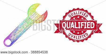 Rainbow Colored Wire Frame Spanner, And Qualified Textured Ribbon Stamp. Red Stamp Includes Qualifie