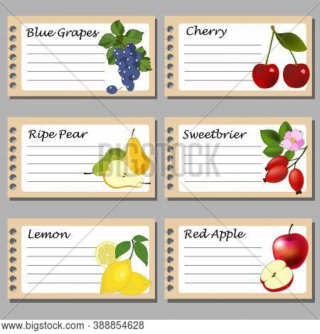 Labels For Preservation, With Fruits, For Text