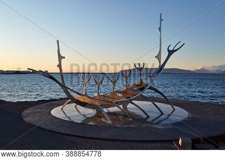 REYKJAVIK, ICELAND - CIRCA 2018: Sun Voyager, a metal sculpture on the shorlineof Reykjavik, designed by Jon Gunnar Arnason
