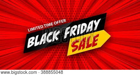 3d Comic Book Cartoon Black Friday Sale Banner. Vector Layout Red Banner On Halftone Radial Backgrou