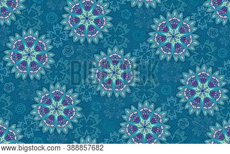 Nature Inspired Floral Mandala With Lacy Scattered Elements Resembling Snow Flakes And Lines In Fres