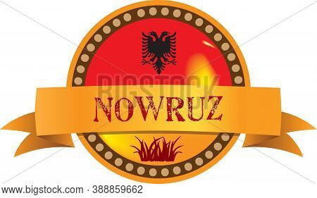 Round Emblem Label For Event - Public Holiday Navruz In Albania