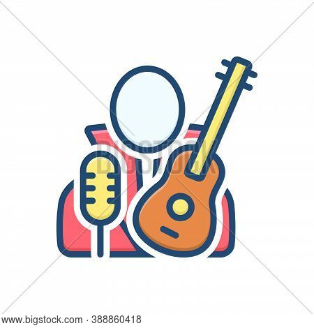 Color Illustration Icon For Necrophagist Musician Composer Melodist Singer Instrument Playing