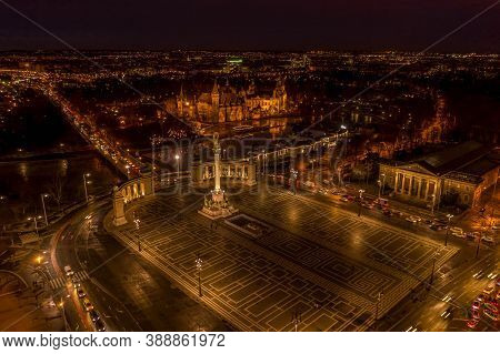 Aerial Drone Shot Of Museum Fine Art Vajdahunyad Castle At Heroes Square In Budapest