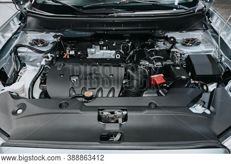 Novosibirsk, Russia - October 08, 2020: Mitsubishi Asx, Close Up Detail Of  Car Engine, Front View.