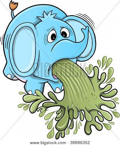 Barfing Vomiting Elephant Vector