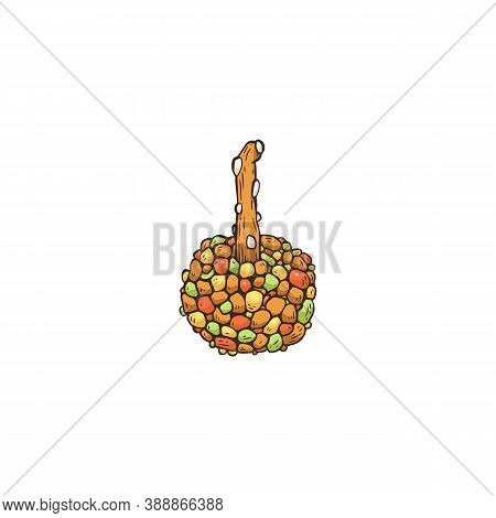 Banquet Snack Of Cherry With Candy Topping, Sketch Vector Illustration Isolated