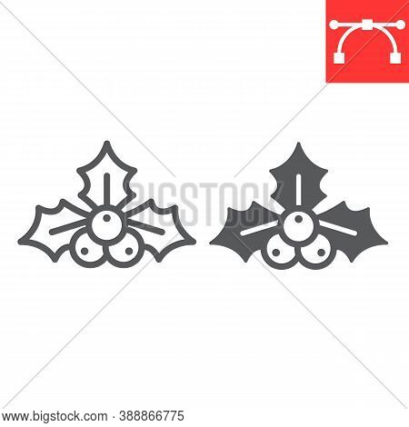 Christmas Holly Berry Line And Glyph Icon, Merry Christmas And Xmas, Holly Tree Sign Vector Graphics