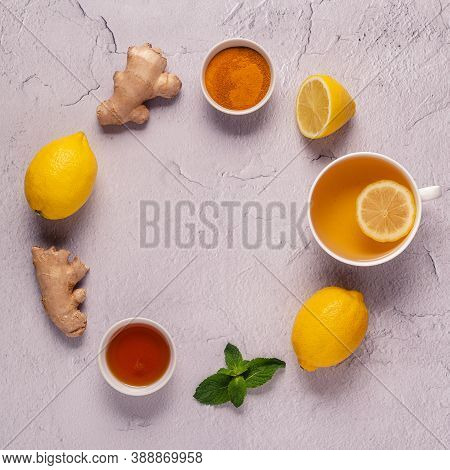 Green Tea With Lemon And Honey, Immunity Boosting And Cold Remedies, Top View.