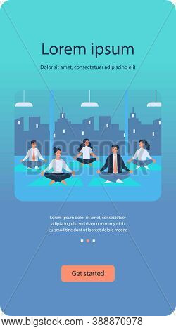Office Workers In Yoga Group Flat Vector Illustration. Cartoon Business People Sitting In Spiritual