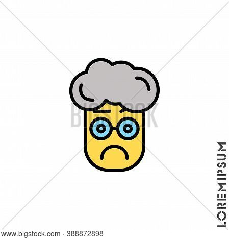 Thinking Face Emoji Yellow Boy, Man Icon. Style Sign For Mobile Concept And Web Design. Emoji Ponder