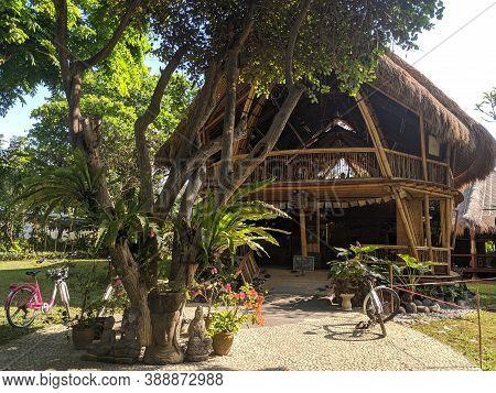 Denpasar, Indonesia - September 29, 2019: A Natural Bamboo House In Sanur Beach Area.