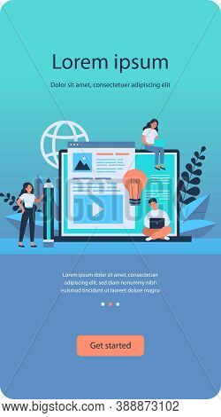 Blog Authors Writing Articles. Freelance Writers With Laptops Creating Internet Content. Vector Illu