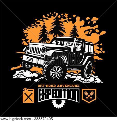 Suv Car On Black - Elements For Tshirt And Emblem - Vector Set