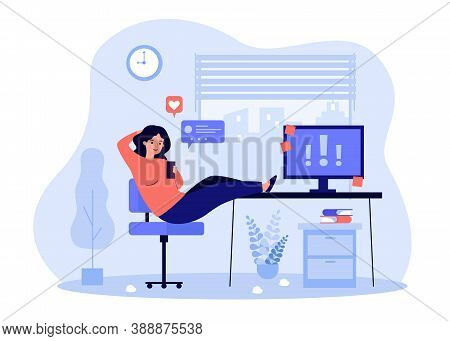 Lazy Office Person Procrastinating At Workplace, Chatting On Cellphone Online, Ignoring Important No