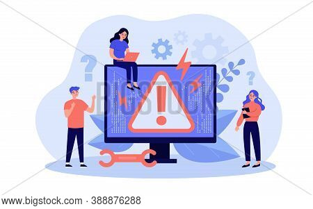 System Error Concept. Upset Tiny People Standing At Computer With Warning Symbol On Monitor. Vector